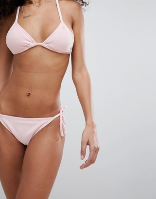 Juicy Couture Velvet Tie Side Bikini Bottoms With Logo Back-Pink