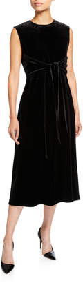Lafayette 148 New York Talana Sleeveless Tie-Waist Calf-Length Velvet Dress