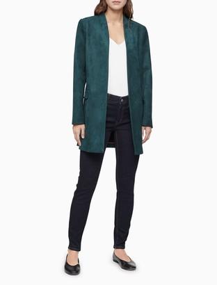 Calvin Klein Faux Suede Open-Front Long Jacket