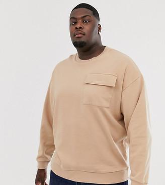 BEIGE Asos Design ASOS DESIGN Plus oversized sweatshirt with utility chest pocket in