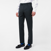 Paul Smith Men's Slim-Fit Dark Green Mini-Check Wool Trousers