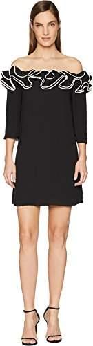 Halston Women's Ruffle Detail Off Shoulder Flowy Dress