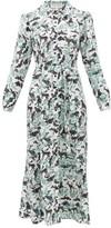 Saloni Vanessa Jungle-print Silk Shirtdress - Womens - White Multi