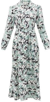 Saloni Vanessa Jungle-print Silk Shirt Dress - White Multi