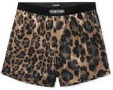Tom Ford Velvet-Trimmed Leopard-Print Stretch-Silk Boxer Shorts