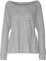 Current/Elliott The Girlie Sweat Marl Cotton-Blend Jersey Peplum Top