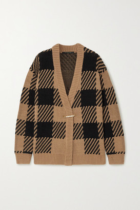 Mother of Pearl Blake Oversized Checked Organic Cotton And Wool-blend Cardigan - Tan