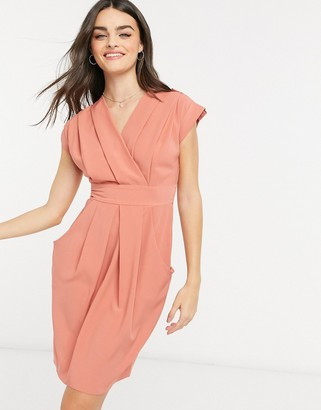 Closet London pleated wrap dress with pockets in taupe