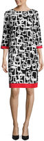 Ronni Nicole 3/4 Sleeve Geometric Shift Dress