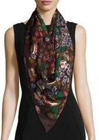Burberry Floral Metallic Silk-Blend Scarf, Damson Pink