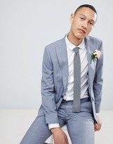 Moss Bros skinny suit jacket in blue wool mix