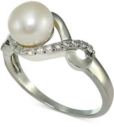Giani Bernini Freshwater Pearl (7mm) & Cubic Zirconia Infinity Ring in Sterling Silver, Only at Macy's