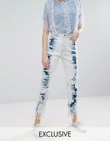 Monki Acid Wash Frayed Hem Jeans