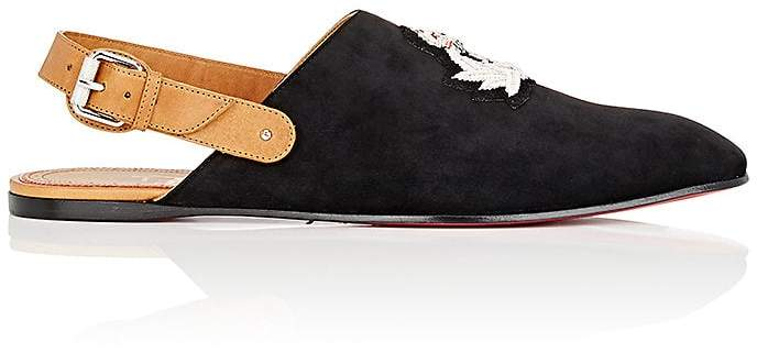 Christian Louboutin Men's Oliveira Flat Suede Slippers
