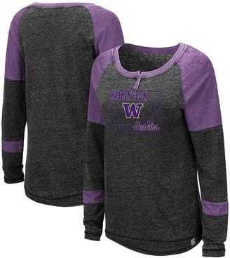 Colosseum Women's Heathered Black Washington Huskies Miranda Henley Raglan Long Sleeve T-Shirt