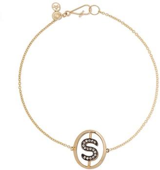 Annoushka 18kt yellow gold diamond initial S bracelet