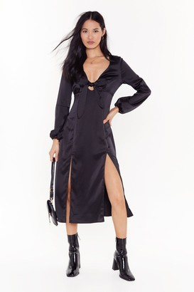 Nasty Gal Womens All Cut-Out of Patience Satin Midi Dress - black - 4