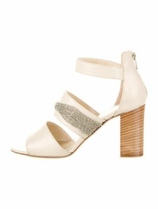 Fabiana Filippi Monili-Trimmed Leather Sandals Champagne