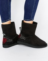 Love Moschino Black Embellished Faux Suede Pull On Boots