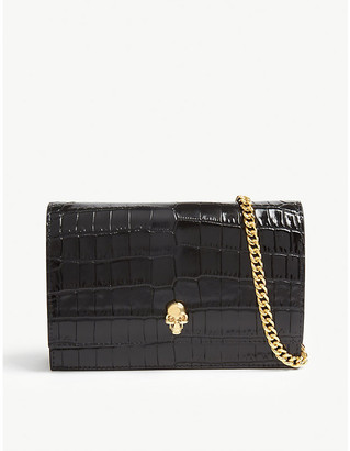 Alexander McQueen Croc-embossed mini leather cross-body bag
