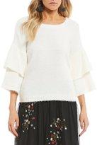 Takara Fuzzy-Knit Tiered Sleeve Cozy Sweater