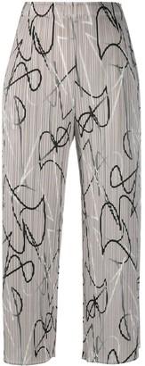Pleats Please Issey Miyake Abstract Print Pleated Trousers