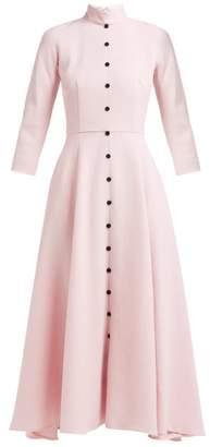 Emilia Wickstead Ashton Panelled Wool-crepe Midi Dress - Womens - Light Pink