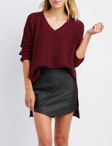 Charlotte Russe Shaker Stitch Tunic Sweater
