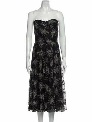 Carmen Marc Valvo Strapless Knee-Length Dress Black