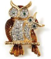 Avalaya Two Sitting Diamante Owls Brooch ( Tone)