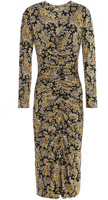 Joie Ruched Printed Stretch-jersey Midi Dress