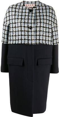 Marni Check-Print Detail Single-Breasted Coat