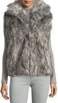 Neiman Marcus Faux-Fur Oversized Vest, Silver Fox-Color