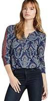 Lucky Brand Women's Tile Paisley Henley Top