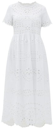 RED Valentino Floral Broderie-anglaise Cotton Maxi Dress - Womens - White