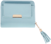 Yours Clothing Blue Textured PU Zip Around Purse With Tab Pocket & Tassel