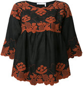 Chloé folk embroidered blouse - women - Linen/Flax - 42