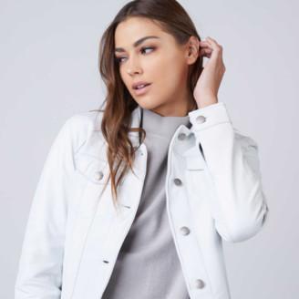 DSTLD Leather Trucker Jacket in White