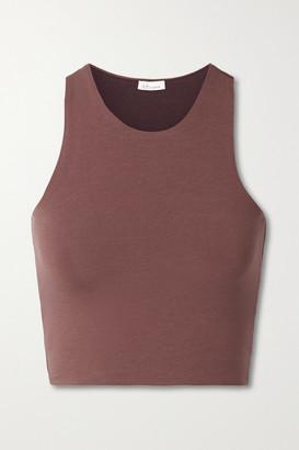 Skin Net Sustain Calliope Reversible Cropped Organic Pima Cotton-blend Jersey Tank - Brown