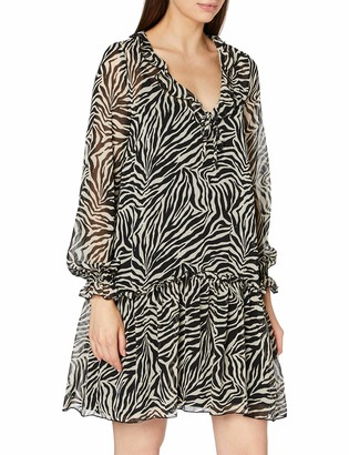 Dorothy Perkins Women's Camel Animal Print Chiffon Smock Shift Dress Casual 6
