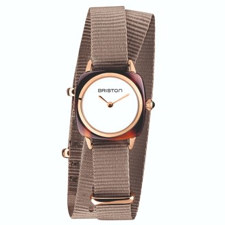 Briston Clubmaster Lady Tortoise Shell, White Dial And Rose Gold, Taupe Double Tour Nato Strap
