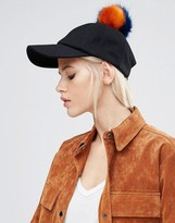 Asos Wool Cap with Faux Fur Multi Pom