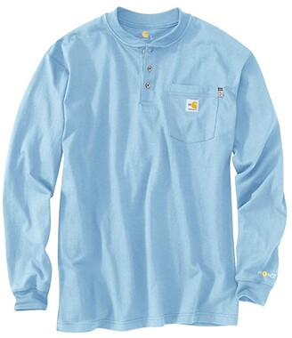 Carhartt Flame-Resistant Force(r) Cotton Long Sleeve Henley (Light Gray) Men's Clothing