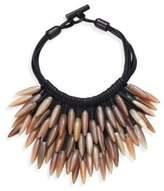 Nest Fringed Leather & Horn Necklace