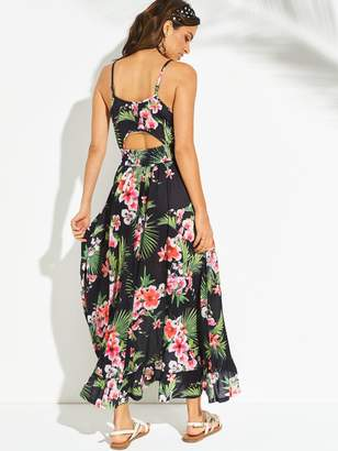 Very Jersey Dipped Hem Frill Trim Maxi Beach Dress - Black Floral