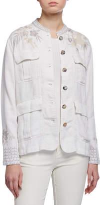 Johnny Was Oleander Embroidered Linen Safari Jacket