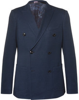 Etro Blue Slim-fit Double-breasted Cotton Blazer - Blue
