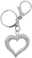 Yours Clothing Silver Diamante Cut Out Heart Keyring