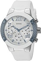 GUESS Women's U0772L3 Sporty Silver-Tone Stainless Steel Watch with Multi-function Dial and White Strap Buckle