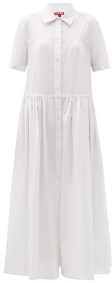 STAUD Guilia Short-sleeved Cotton-poplin Shirt Dress - White